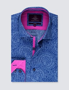Men's Curtis Blue & Navy Jacquard Paisley Slim Fit Shirt - Single Cuff