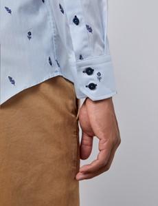Men's Curtis Light Blue Dobby Feathers Slim Fit Shirt - Single Cuff