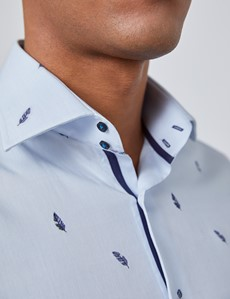 Men's Curtis Light Blue Dobby Feathers Slim Fit Shirt - Single Cuff