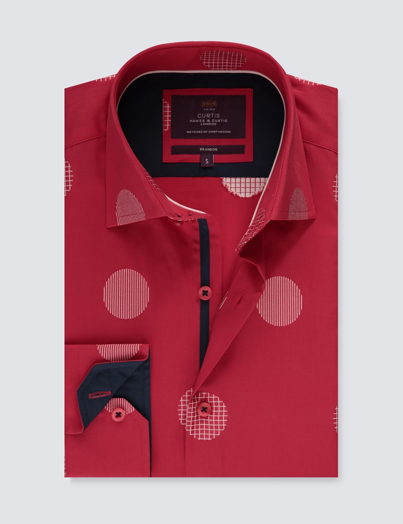Men's Curti Red & White Large Dobby Spots Slim Fit Shirt - Single Cuff