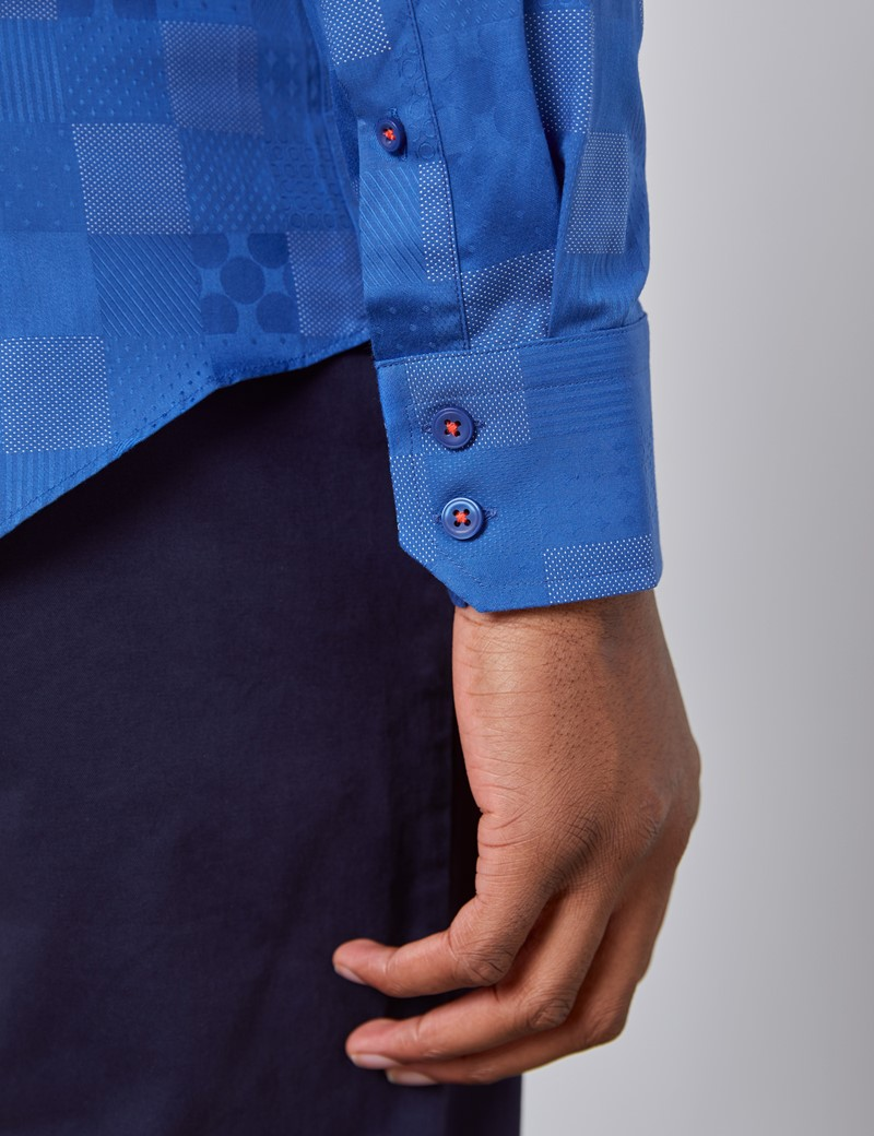 Men's Curtis Royal Blue Dobby Slim Fit Shirt - Single Cuff