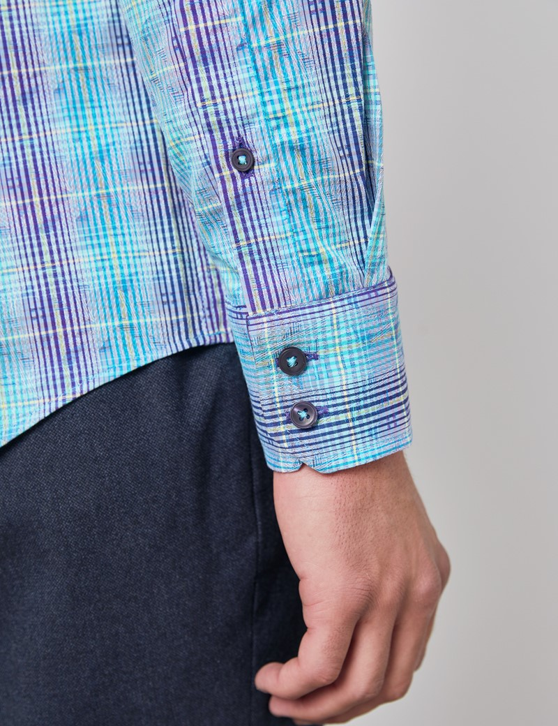 Men's Curtis Blue & Purple Jacquard Plaid Relaxed Slim Fit Shirt – Single Cuff