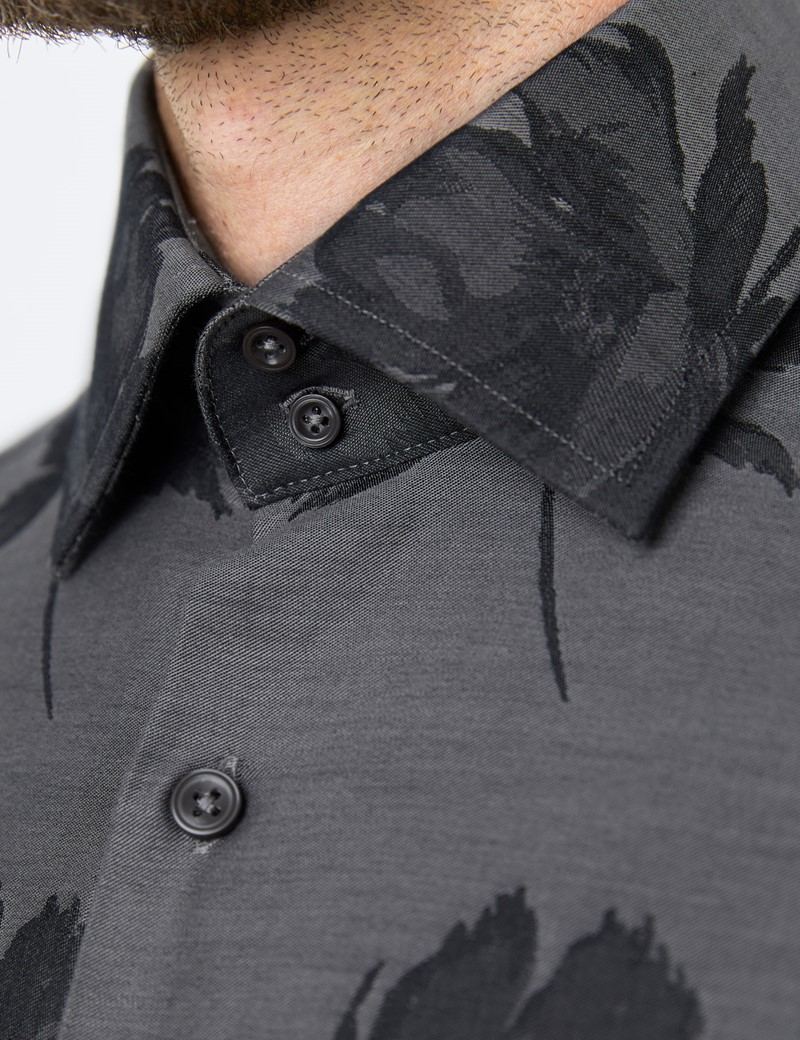 Men's Curtis Black & Grey Jacquard Floral Relaxed Slim Fit Shirt – Single Cuffs