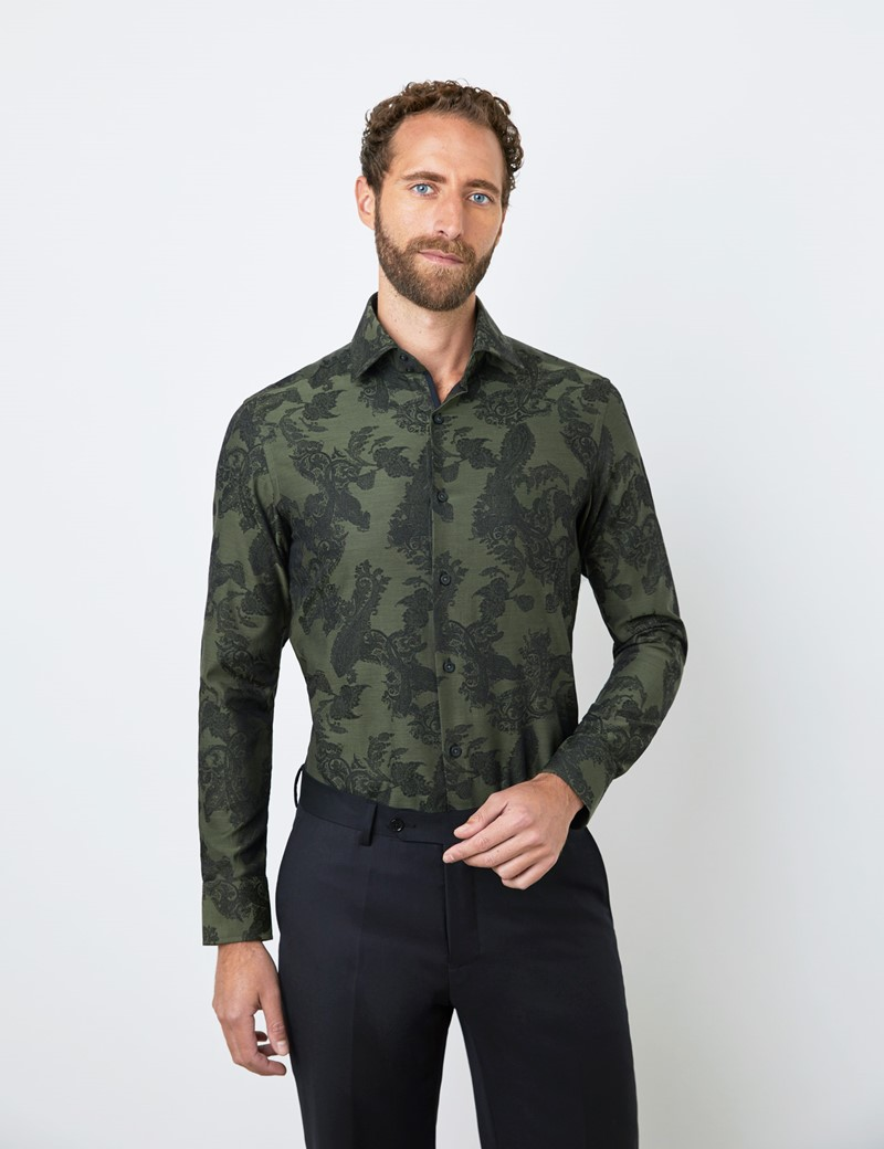 Men's Curtis Green Floral Jacquard Relaxed Slim Fit Shirt – Single Cuff