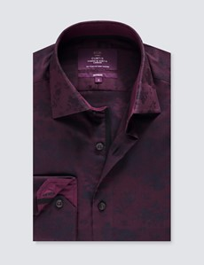 Men's Curtis Burgundy Floral Jacquard Relaxed Slim Fit Shirt – Single Cuff