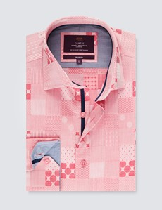 Men's Curtis Red Spots & Patchwork Relaxed Slim Fit Shirt – Medium Collar