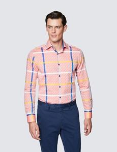 Men's Curtis Orange and Blue Check Slim Fit Cotton Shirt – Low Collar