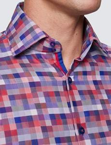 Men's Curtis Pink & Grey Multi Checks Relaxed Slim Fit Shirt – Medium Collar