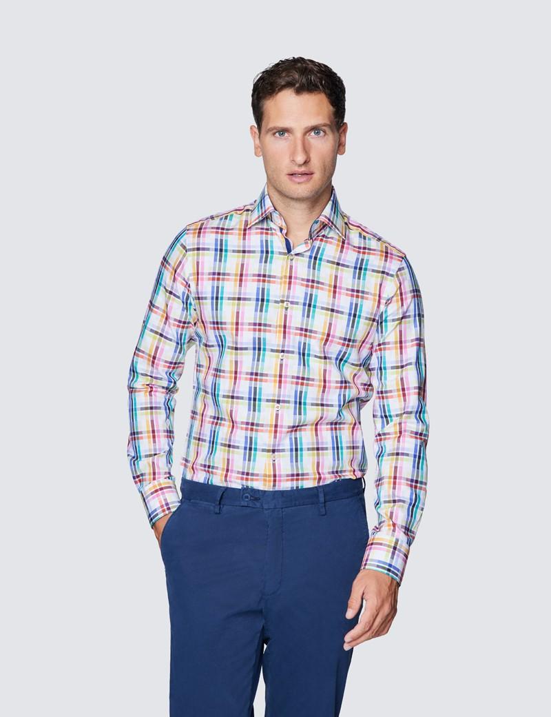 Men's Curtis White & Pink Medium Checks Relaxed Slim Fit Shirt – Low Collar