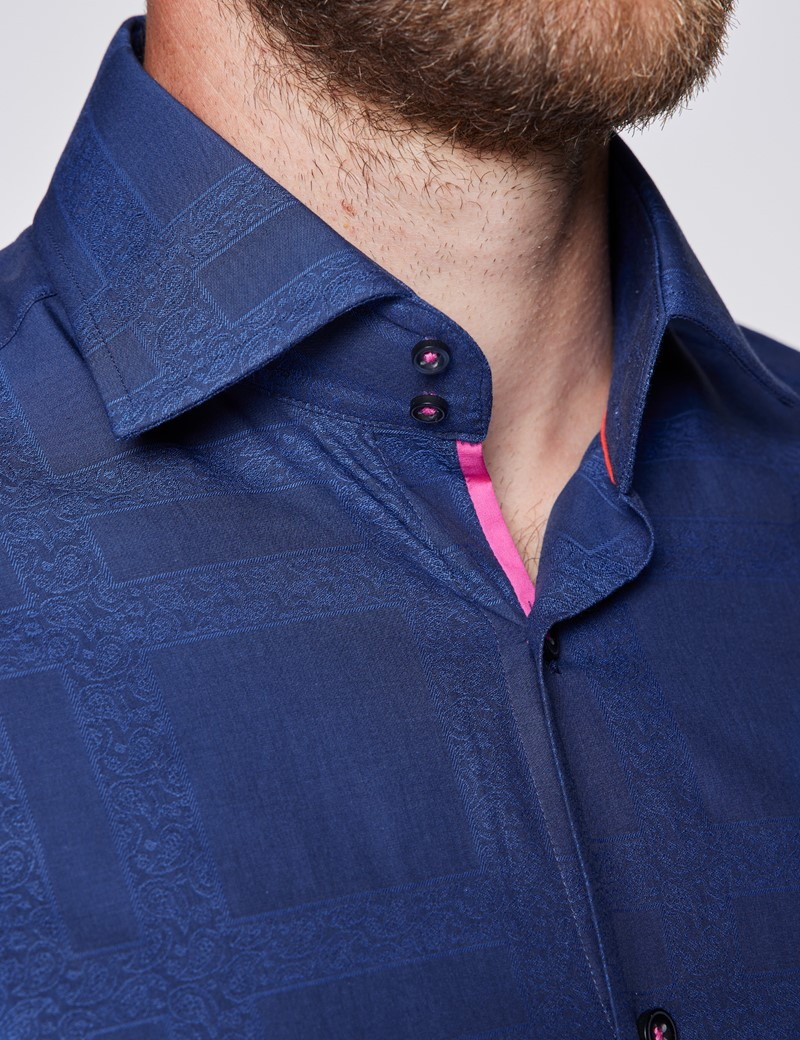 Men's Curtis Navy Large Check Relaxed Slim Fit Shirt – Low Collar
