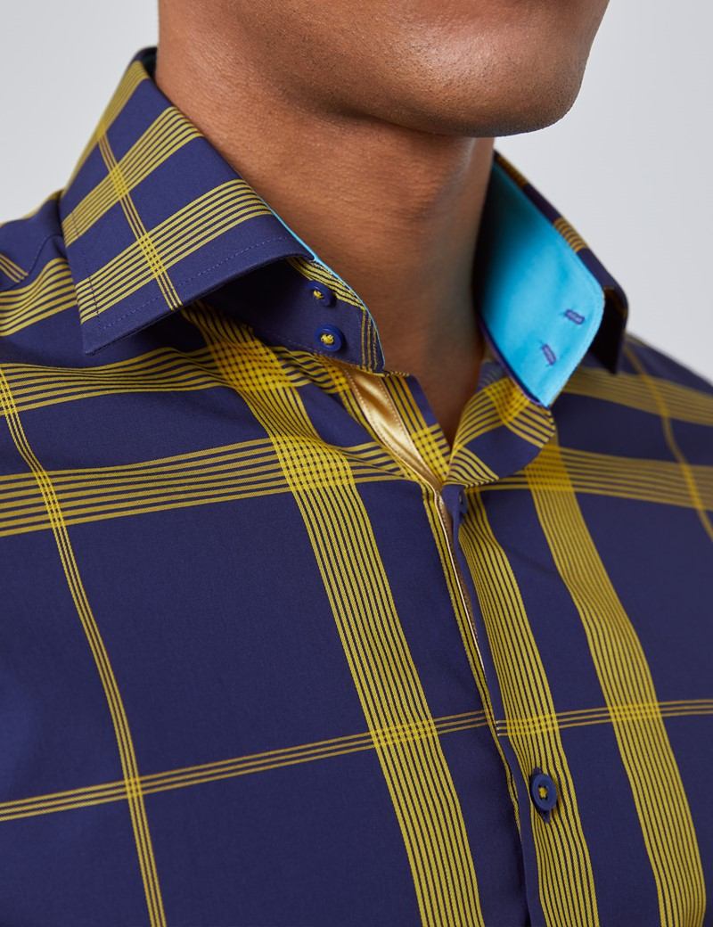Men's Curtis Navy & Yellow Checks Slim Fit Shirt - Single Cuff