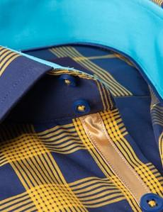 Men's Curtis Navy & Yellow Checks Slim Fit Shirt - Single Cuff