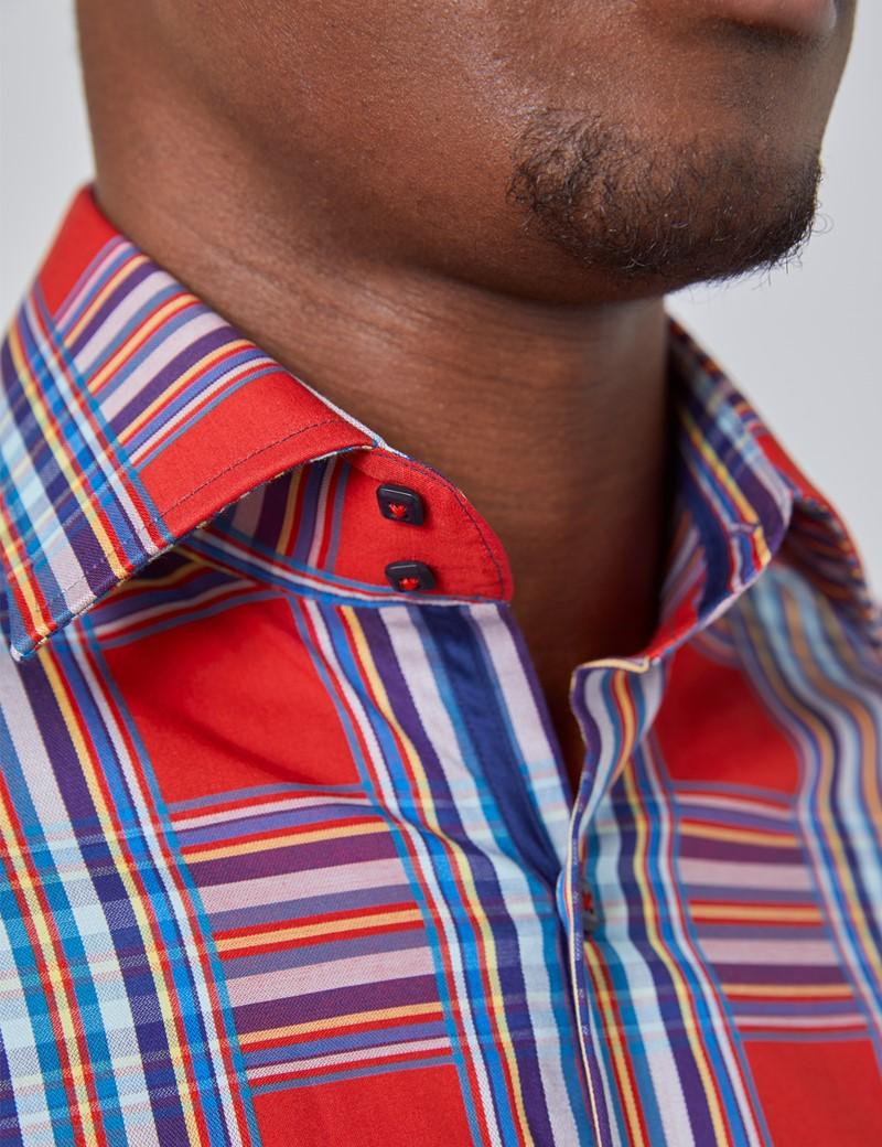 Men's Curtis Red & Navy Brandon Large Checks Slim Fit Shirt - Single Cuff