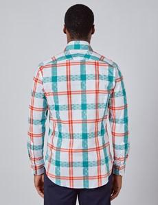 Men's Curtis White & Orange Large Checks Slim Fit Shirt - Single Cuff