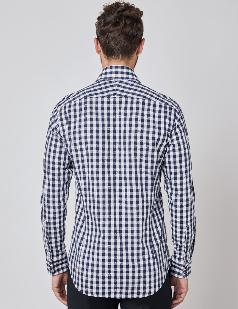 Men's Curtis Navy & White Jacquard Check Relaxed Slim Fit Shirt – Single Cuff