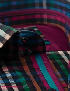 Men's Curtis Blue & Pink Multi Plaid Relaxed Slim Fit Shirt – Single Cuff