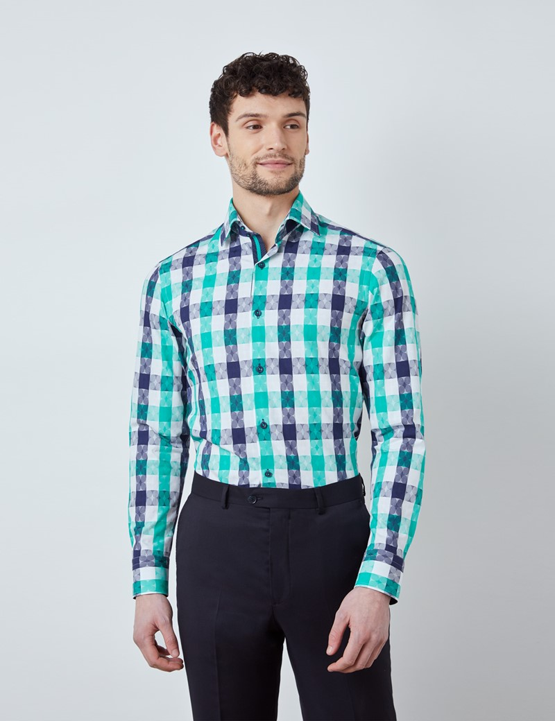 Men's Curtis Navy & Green Medium Check Relaxed Slim Fit Shirt – Medium Collar