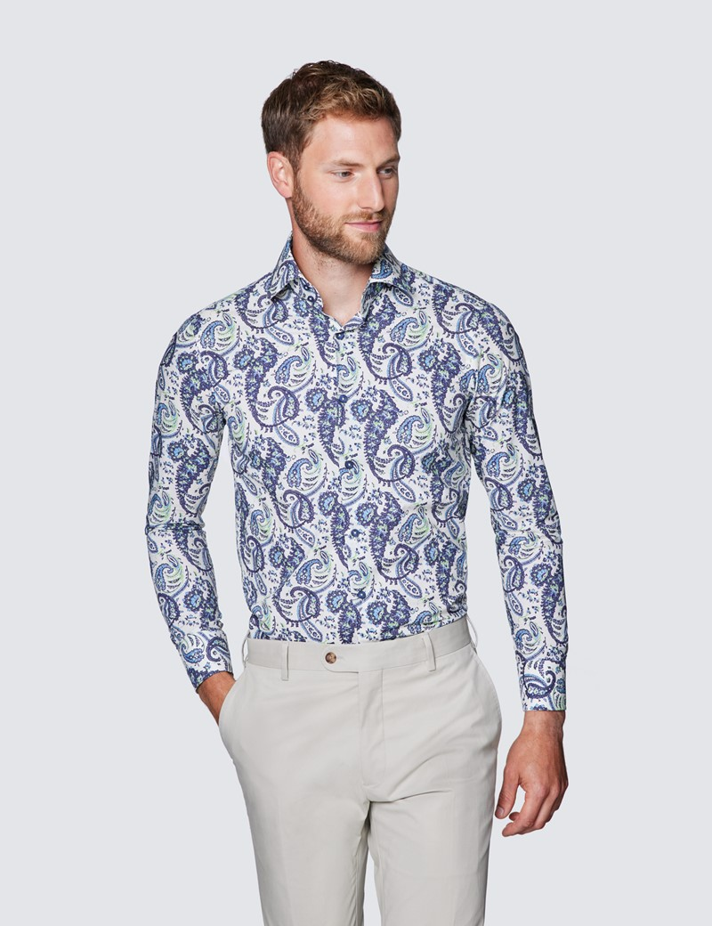 Men's Curtis Cream & Blue Paisley Print Slim Fit Shirt - Low Collar