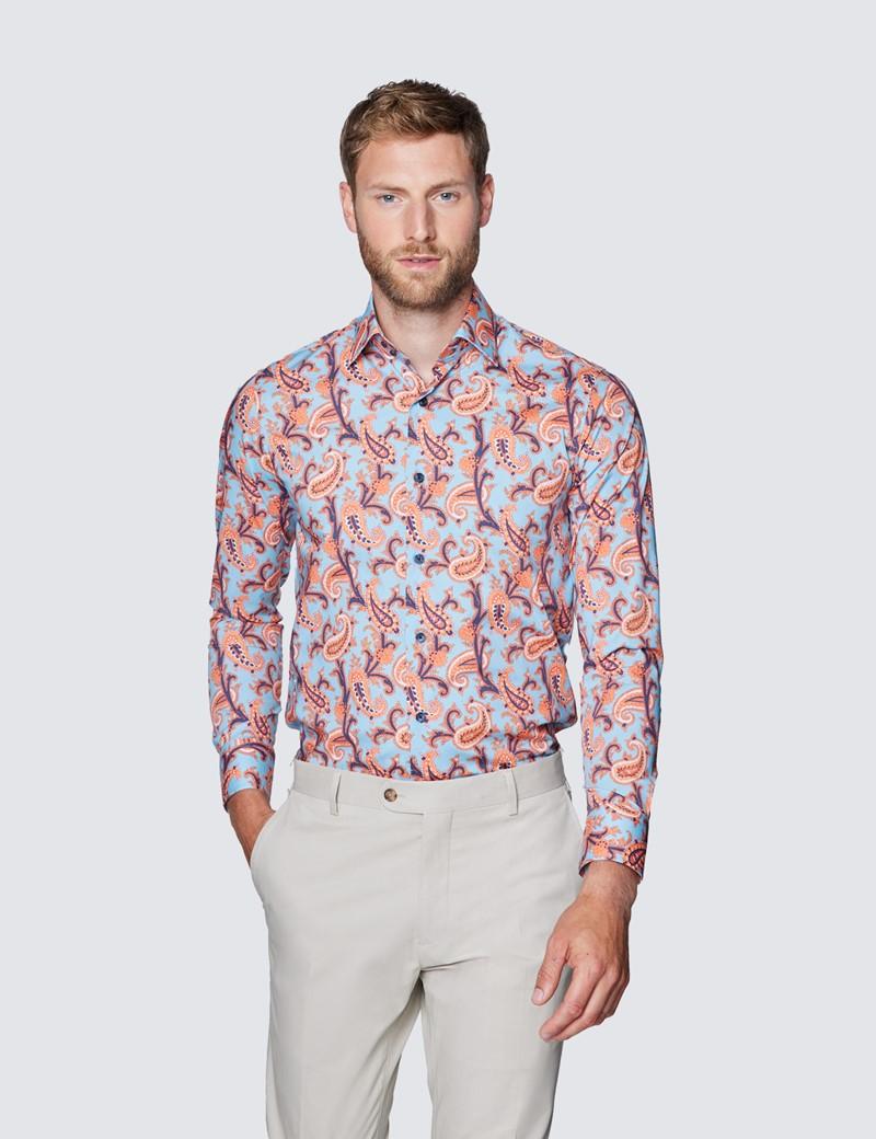 Men's Curtis Blue & Orange Paisley Print Slim Fit Shirt - Low Collar