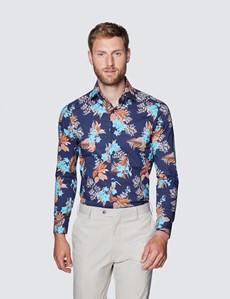 Men's Curtis Navy & Brown Wild Forest Print Slim Fit Shirt - Low Collar