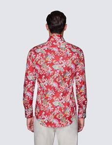 Men's Curtis Red & Cream Paisley Print Shirt - Low Collar