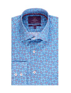 Men's Curtis Blue & Red Paisley Design Slim Fit Smart Casual Shirt - Single Cuff