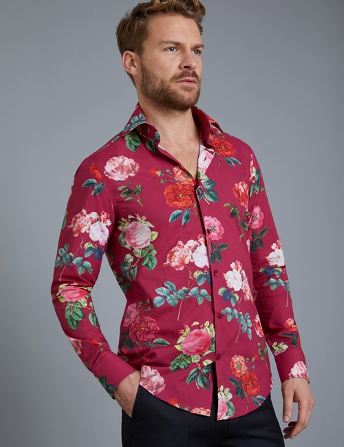 Men's Curtis Burgundy & Pink Floral Print Slim Fit Shirt - Single Cuff