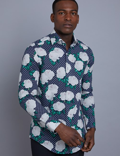 Men's Curtis Navy & White Floral Print Slim Fit Shirt - Single Cuff
