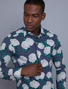 Men's Curtis Navy & White Floral Print Slim Fit Shirt - Single Cuff
