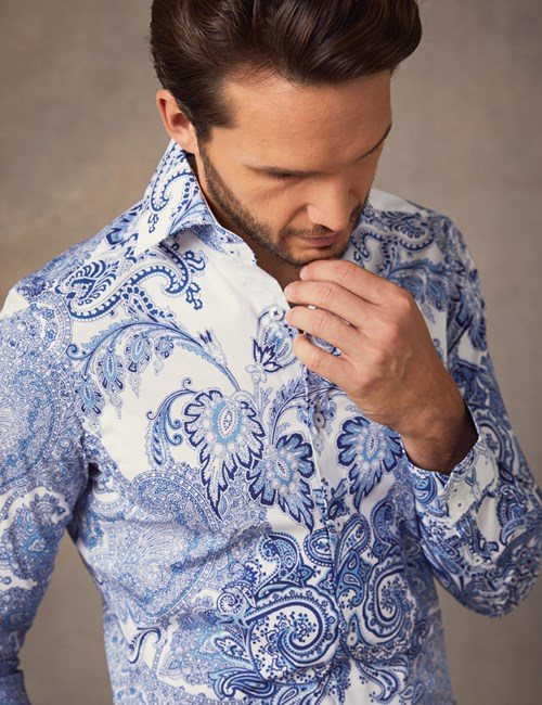 Men's Curtis White & Blue Paisley Slim Fit Shirt - Single Cuff