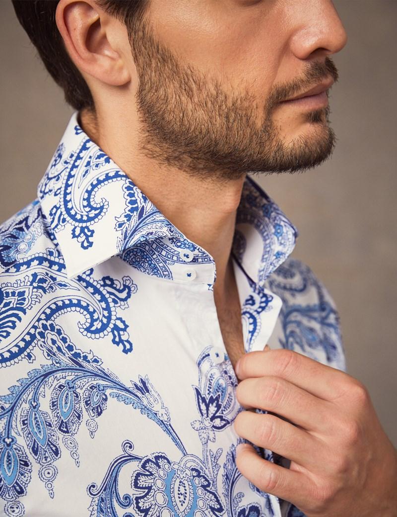 Men's Curtis White & Blue Paisley Slim Fit Shirt - Single Cuff