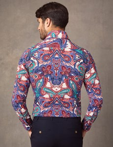 Men's Curtis Green & Red Paisley Print Slim Fit Shirt - Single Cuff