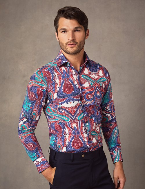 Men's Curtis Green & Red Paisley Print Slim Fit Shirt - Single Cuff