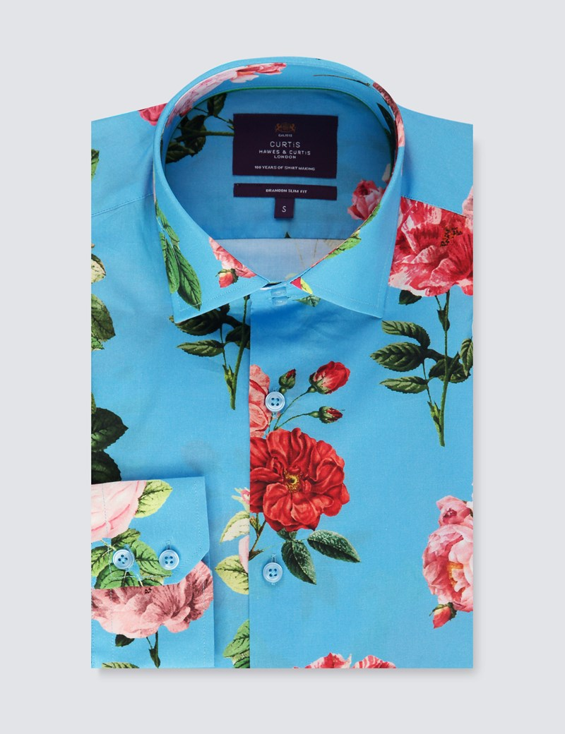 Men's Curtis Blue & Fuchsia Floral Slim Fit Shirt - Single Cuff