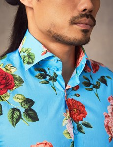 Men's Curtis Blue & Fuchsia Floral Slim Fit Shirt - Single Cuff