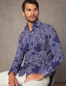 Men's Curtis Blue & White Paisley Print Slim Fit Shirt - Single Cuff
