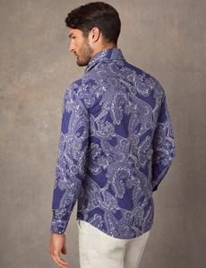 Casual Hemd – Slim Fit – York - Blau mit weißem Paisley