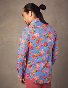 Men's Curtis Blue & Orange Spot Floral Slim Fit Shirt - Single Cuff