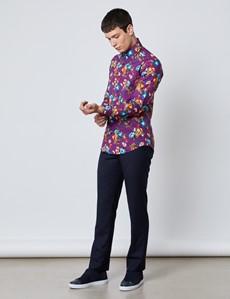 Men's Curtis Purple & Orange Floral Slim Fit Shirt - Single Cuff