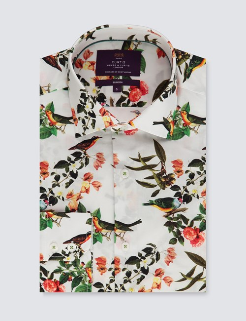 Men's Curtis Green & Gold Birds Print Slim Fit Shirt - Single Cuff
