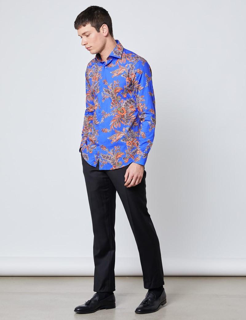 Men's Curtis Blue & Orange Paisley Slim Fit Shirt - Single Cuff