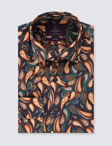 Casualhemd - Relaxed Slim Fit - Hoher Kragen - navy-orange Paisley