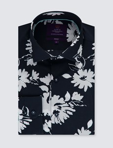 Men's Curtis Navy & White Floral Slim Fit Shirt - Single Cuff