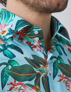Men's Curtis Blue & Red Tropical Floral Relaxed Slim Fit Shirt - Single Cuff