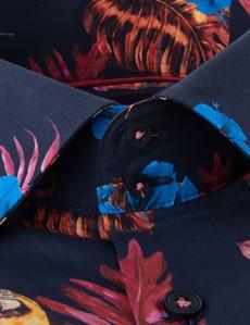 Men's Curtis Navy & Fuchsia Tropical Print Slim Fit Shirt - Single Cuff