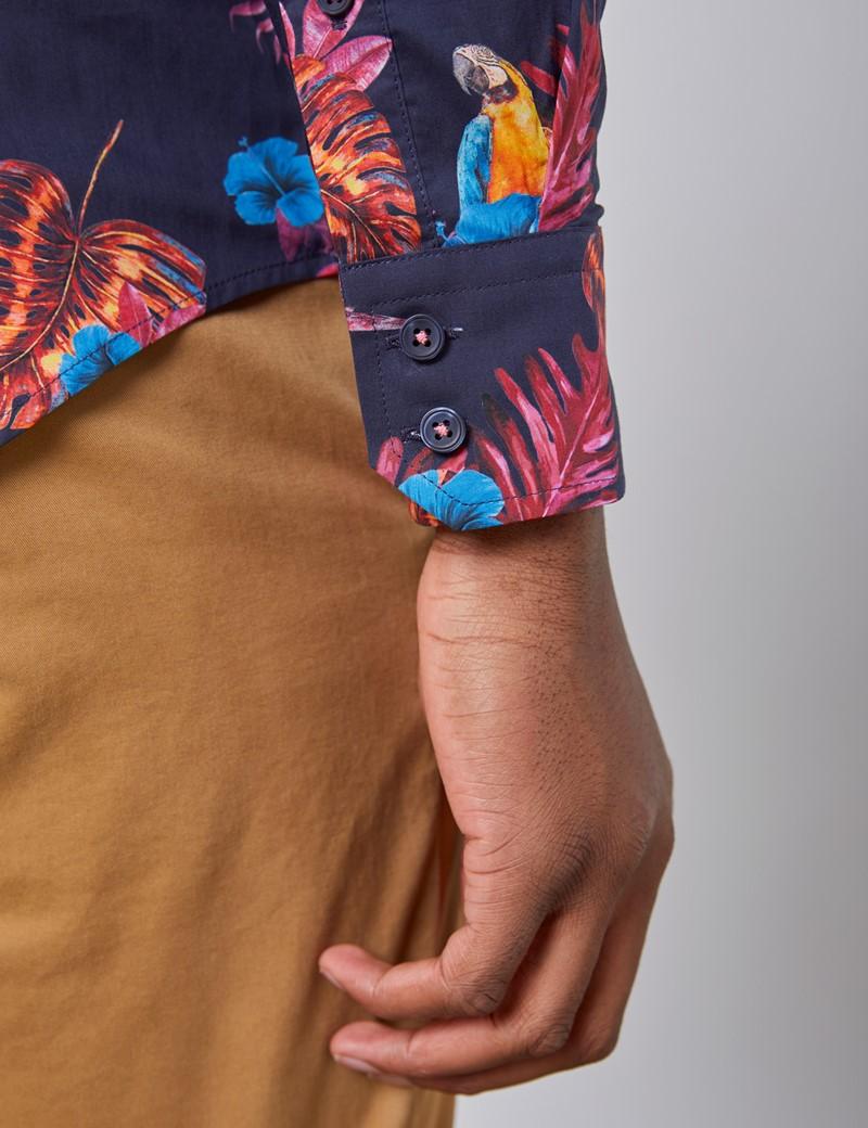 Men's Curtis Navy & Fuchsia Tropical Print Relaxed Slim Fit Shirt - Single Cuff