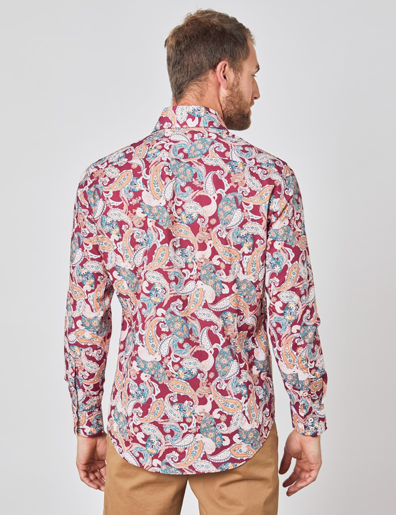 Casualhemd – Relaxed Slim Fit – weinrot & blau Paisley