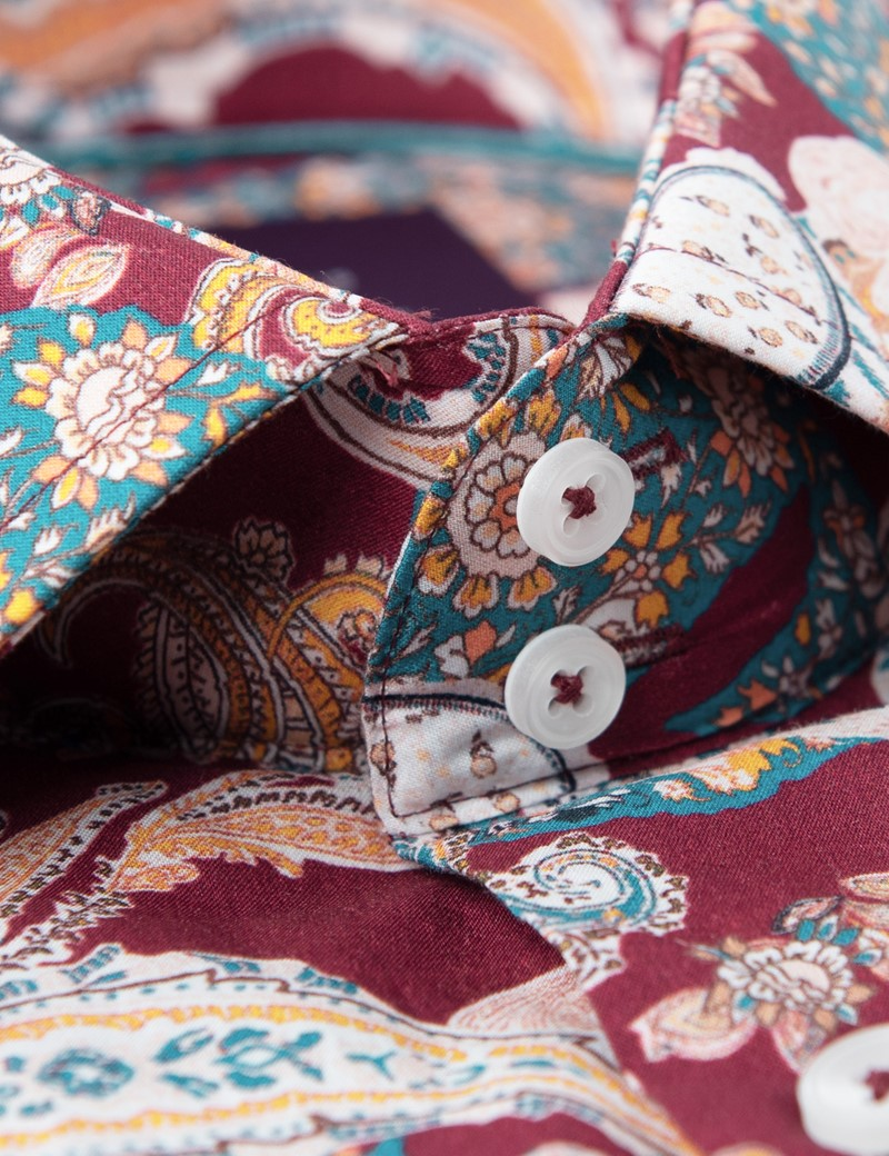 Men's Curtis Burgundy & Blue Paisley Slim Fit Shirt - Single Cuff