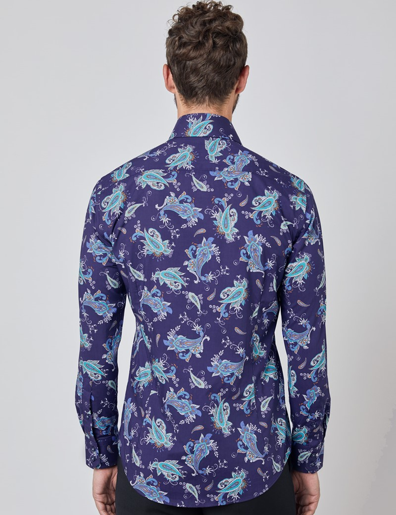 Men's Curtis Navy & Blue Paisley Relaxed Slim Fit Shirt - Single Cuff