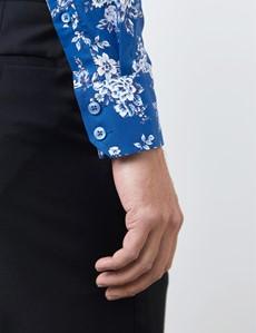 Casuallhemd – Relaxed Slim Fit – hoher Kragen – blau Blümchen